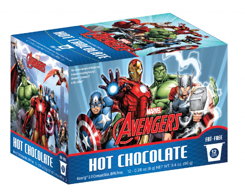 Marvel Comic Coffee and Marvel's Avengers Hot Chocolate will be available in retail outlets nationwide later this year. The cups produced will be 2.0 compatible, for use with the Keurig(R) system and similar coffeemakers. Both products will be on-hand at the at the upcoming New York Comic Con, the largest pop culture event on the East Coast, held October 8-11th at the Javits Center. (PRNewsFoto/White Coffee Corporation)