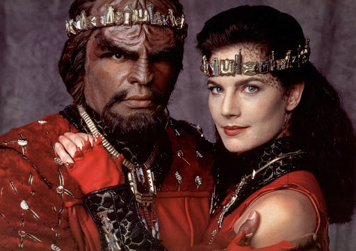 Terry Farrell and Michael Dorn