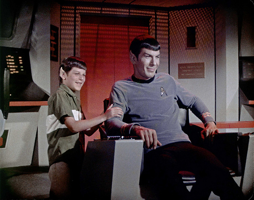 Adam Nimoy visits father, Leonard Nimoy on the set of Star Trek. Photographer Unknown.
