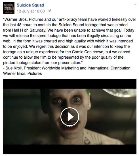 Suicide Squad trailer leak response