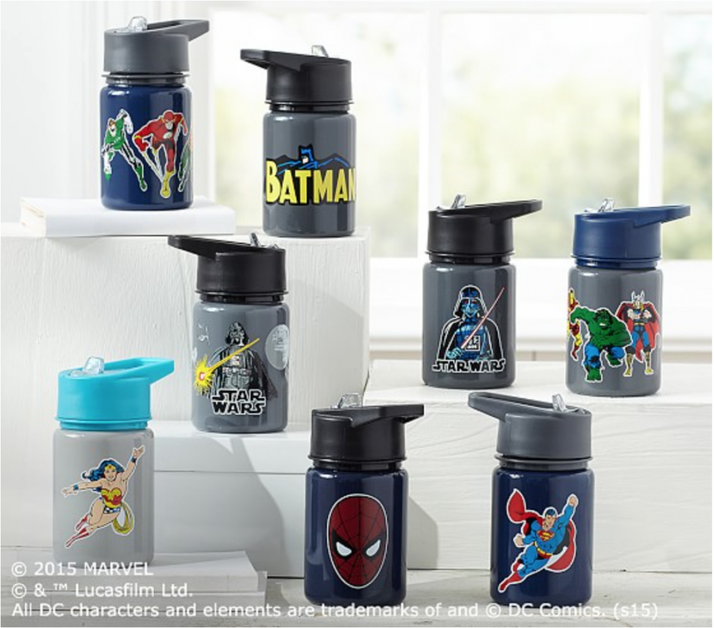 Heroes & Villains water bottles from Pottery Barn Kids.