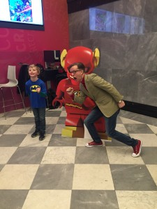 James Arnold Taylor poses with a fan and Flash