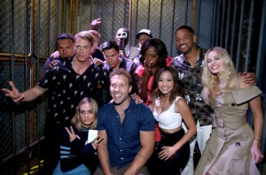 SAN DIEGO, CA - JULY 23:  Actors Adam Beach, Joel Kinnaman, Scott Eastwood, Adewale Akinnuoye-Agbaje, Jay Hernandez, Jai Courtney, Karen Fukuhara, Viola Davis, Will Smith, and Margot Robbie of 'Suicide Squad' experience the Samsung 360 at the Samsung Experience at San Diego Comic-Con 2016 at Hard Rock Hotel San Diego on July 23, 2016 in San Diego, California.  (Photo by Jonathan Leibson/Getty Images for Samsung)