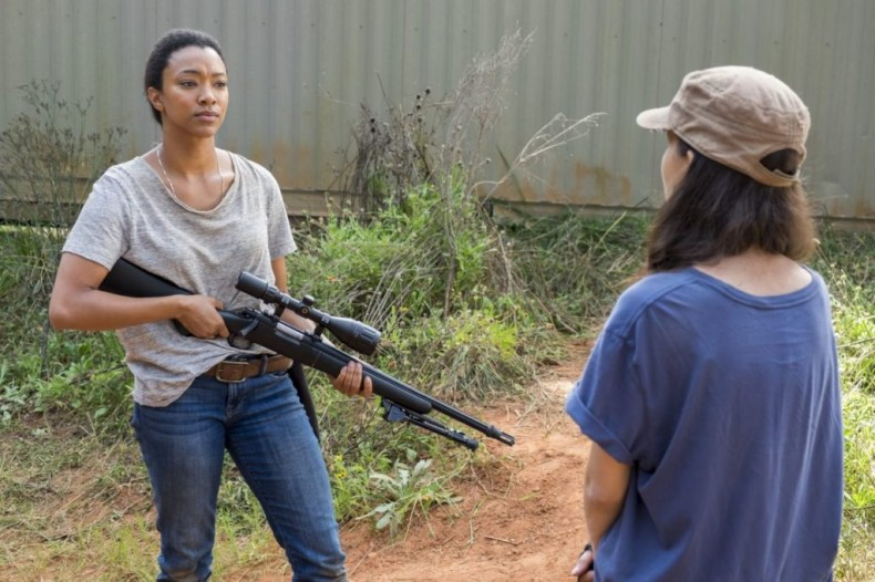 Christian Serratos as Rosita Espinosa, Sonequa Martin-Green as Sasha Williams - The Walking Dead _ Season 7, Episode 13 - Photo Credit: Gene Page/AMC